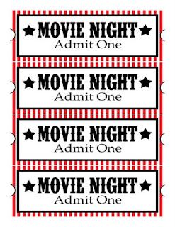 Move Night - Free Printables - Popcorn,Candy, Drink & Treat - Print as tags for a Movie Night Gift Basket