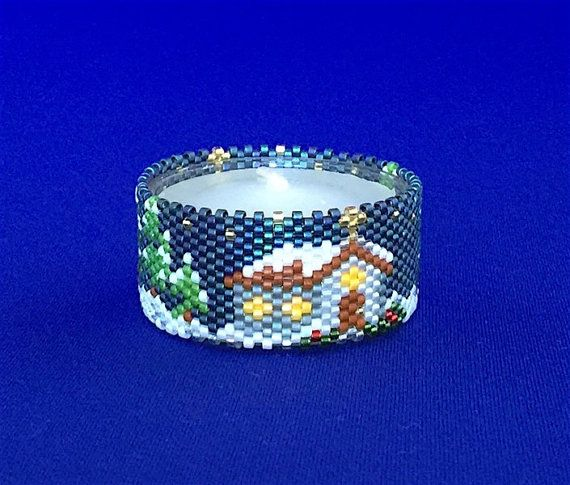 Winter Church Tea Light Cover/Napkin Ring by PhoenixWolfDesigns