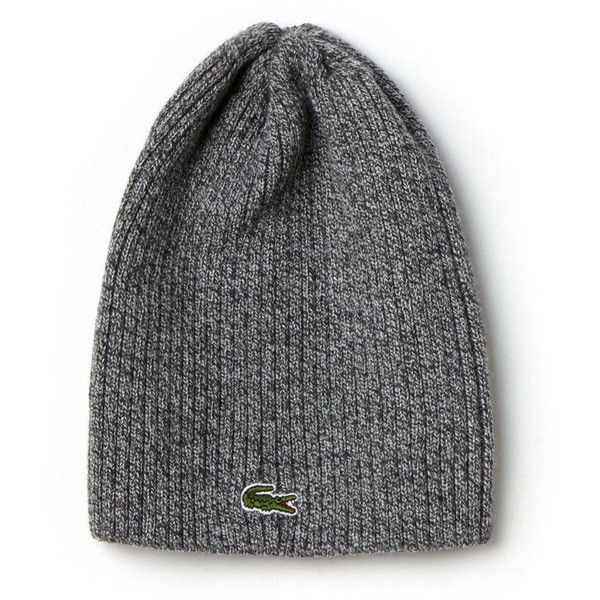 Lacoste Men's Green Croc Ribbed Wool Knit Beanie ($45) ❤ liked on Polyvore featuring men's fashion, men's accessories, men's hats, accessories, light grey jaspe, mens beanie caps, mens beanie, mens knit beanie hats, mens wool hat and mens beanie hats