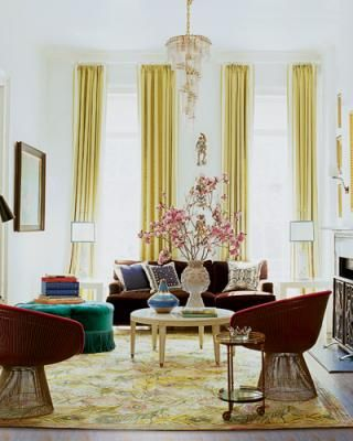 Nanette Lepore's  New York City Apartment: Curtains, Living Rooms, Nantes Charm, Living Large, Elle Decor, Home Interiors, Color, Interiors Design, Jonathan Adler