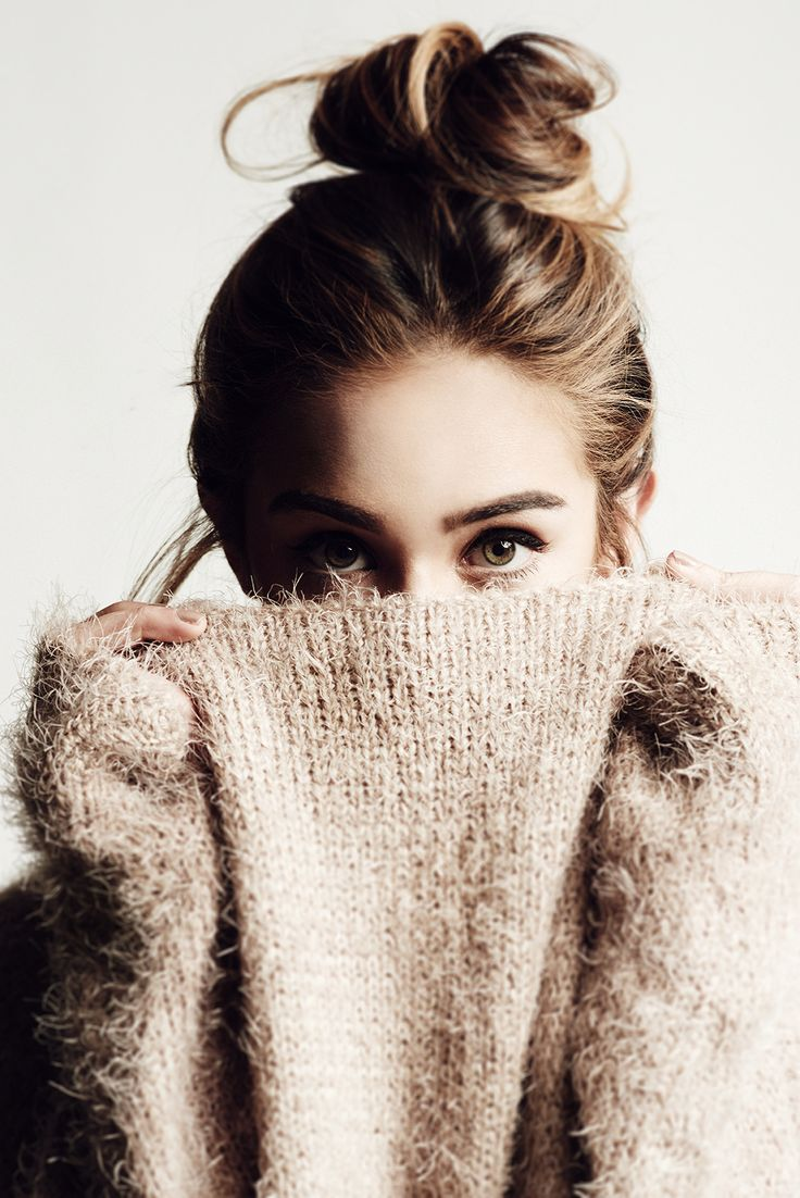 top knot + cozy sweater