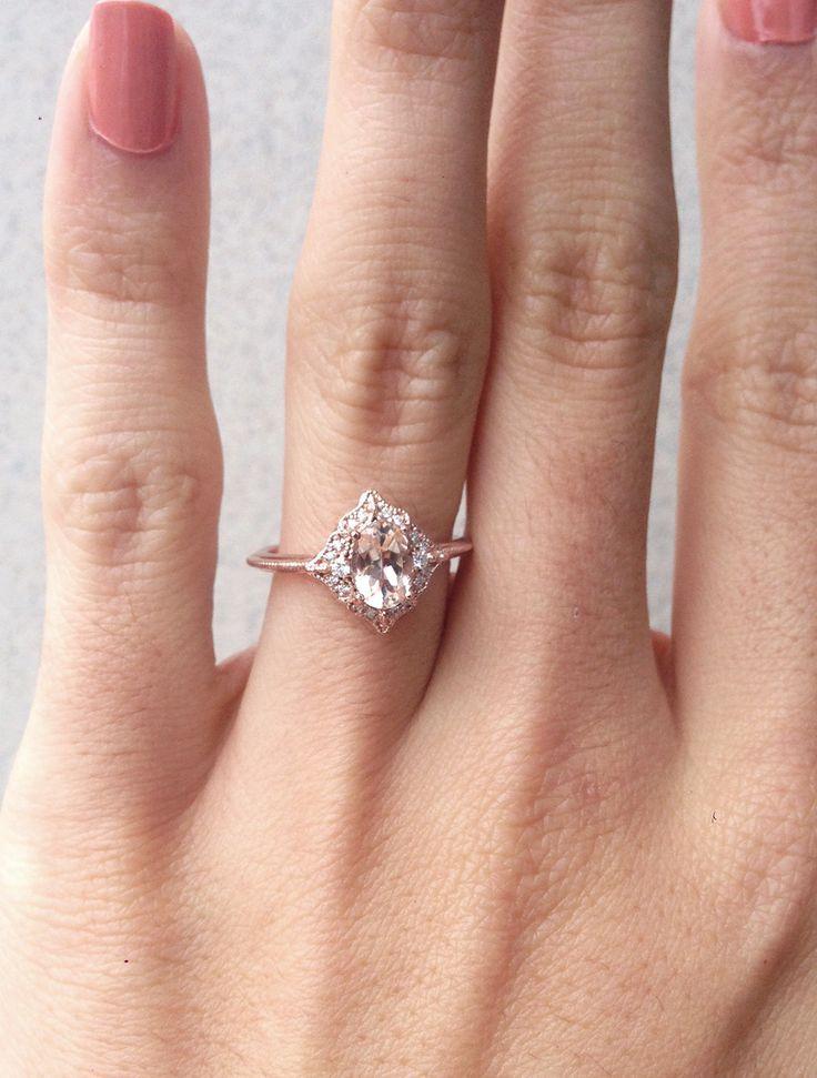 Morganite Engagement Ring, Oval Morganite Diamond Ring, Alternative Verl … – Wo … – Verlobungsringe