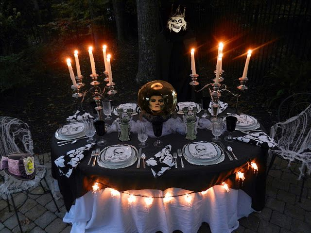 decoration 28 awesome outdoor halloween party ideas cool outdoor halloween party idea with charming dining table decoration balck tablecloth along with - Halloween Party Decorating Ideas
