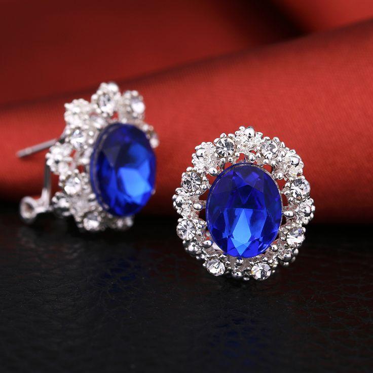 EJSPACE 럭셔리 패션 아연 합금 라운드 웨딩 스터드 귀걸이 블루 레드 화이트 크리스탈 귀걸이 보석 파티 선물