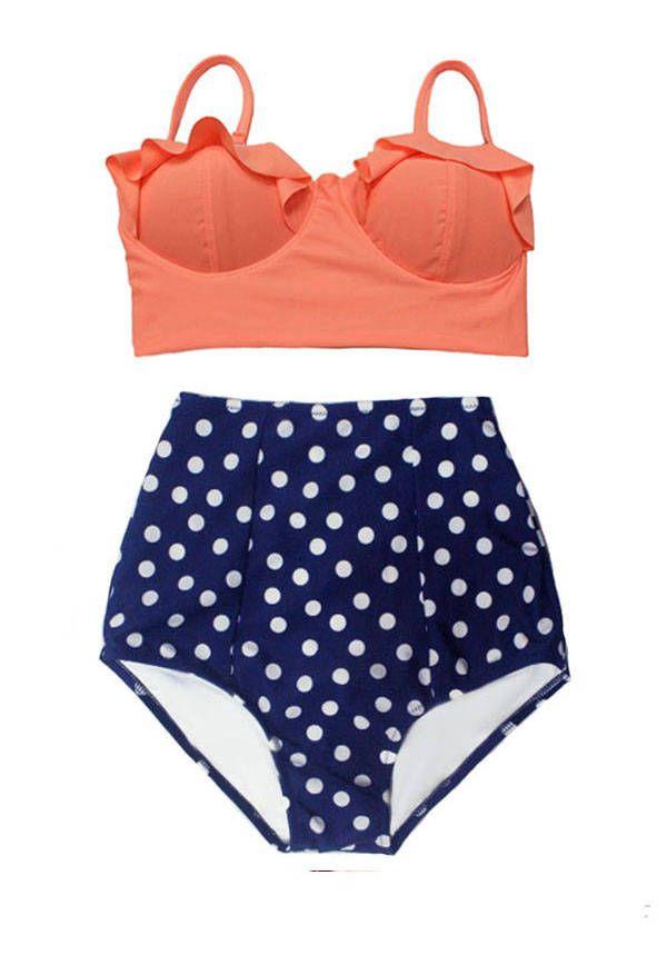 Mix & Match High Waist Waisted Bikini Swimsuit, Old Rose Pastel Midkini Top  and Polka dot Bottom Two piece Swimwear Bathing suit S M L XL