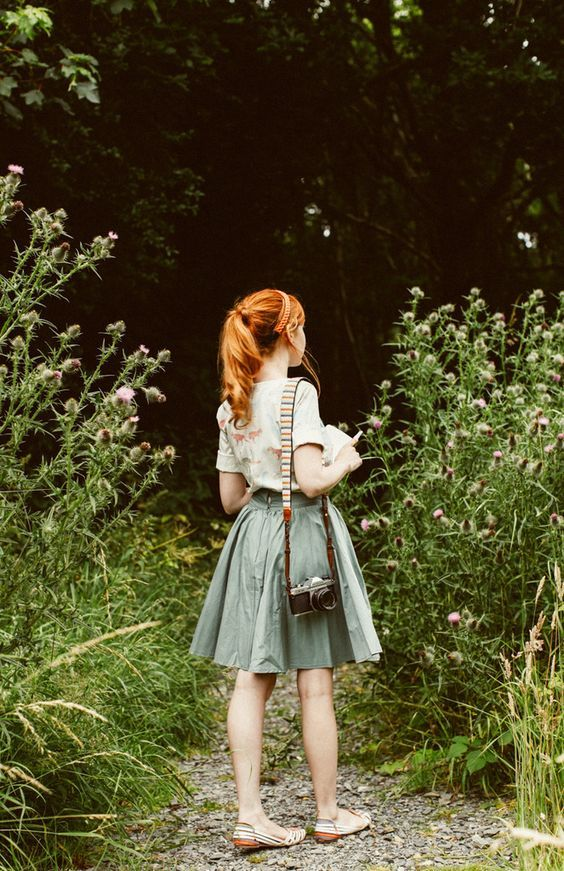 """High-waisted skirt and dinosaur print! from """"The Clothes Horse"""":"""