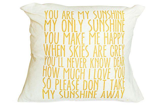 "Make one like this! ""Sunshine"" 16x16 Cotton Pillow, Yellow"