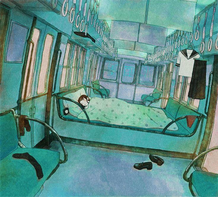 sleeper car: Beds, Bus, Jun Ayafuya, Mondays Mornings, Jun Kumaori, Latest Posts, Blog, Heart Japan, Art Illustrations Design