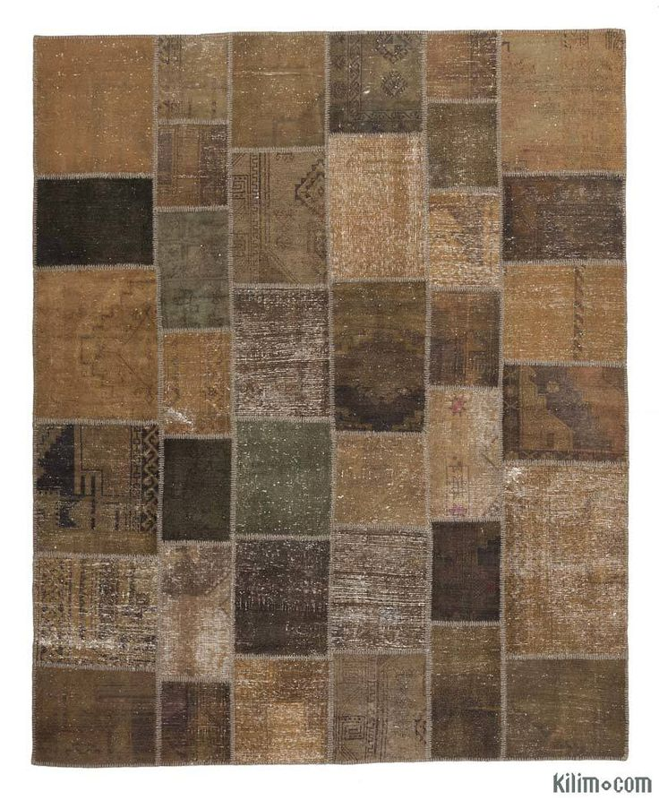 K0016092 Brown Over-dyed Turkish Patchwork Rug | Kilim Rugs, Overdyed Vintage Rugs, Hand-made Turkish Rugs, Patchwork Carpets by Kilim.com