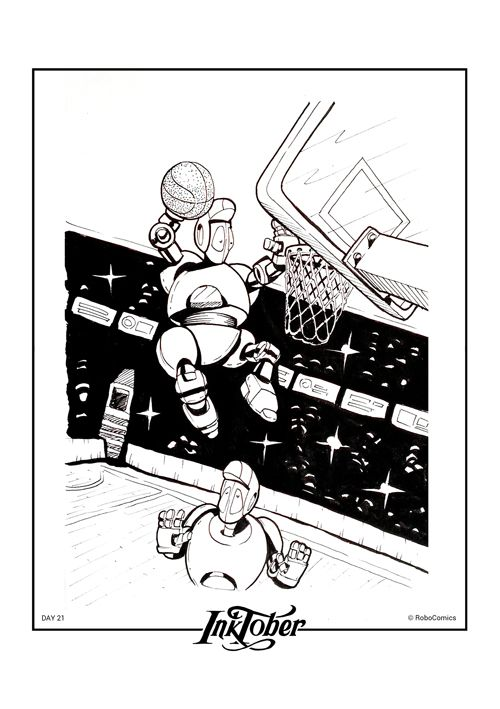 "First robot's basketball championship ""ROBO BASKET"" was held in our painter fantasy. What did not you do for Inktober #nba #basketball #ball #sport #robots #robocomics #art #comics #sketch #instacool #design #illustration #illustrator #draw #drawing #comic #робот #рисунок #арт #искусство #sketchoftheday #inktoberfest #inktober #31drawings #inktober2go #sketchoftheday #blackandwhite #bw"