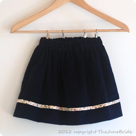 Easy elastic waistband skirt for girls with sewing tutorial