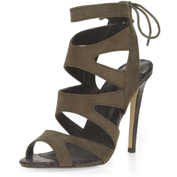 Dorothy Perkins Khaki 'Single' Caged sandals ($41) ❤ liked on Polyvore featuring shoes, sandals, green, dorothy perkins, green shoes, high heel sandals, caged heel sandals and high heel shoes