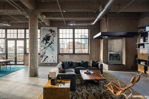 Industrial Living Room Loft Conversion - Modern Interior Design