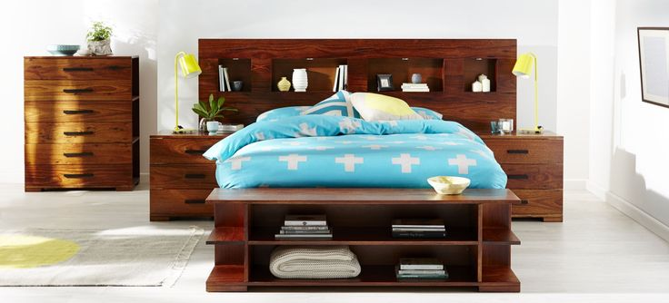 King Size Cargo Extended Bed Head And Matching Bedside