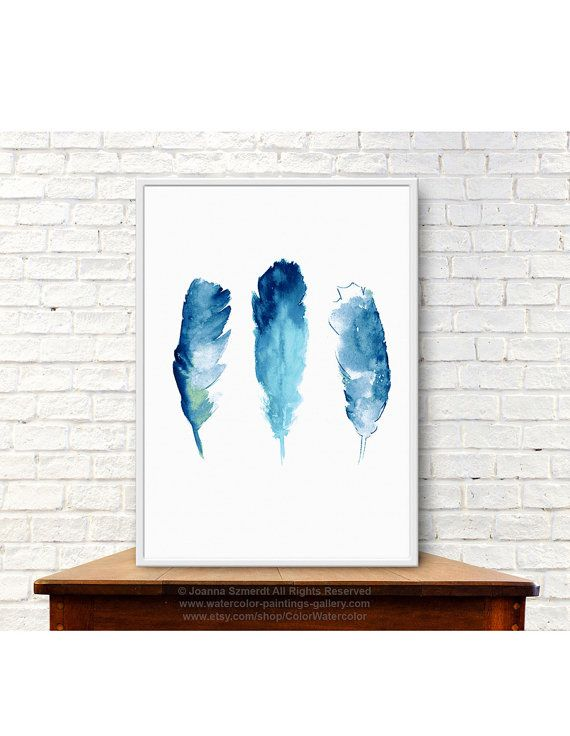 Feathers Wall Decor Blue Giclee Fine Art Print by ColorWatercolor