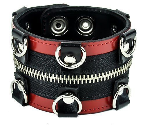 D Ring and Zipper Wristband. Great for Roleplay, Cosplay in any Style. Gothic, Punk, Deathrock, Metal, Cyber, Industrial, Psychobilly, Rockabilly, Lolita, Vampire, Anime, fetish or any subculture!