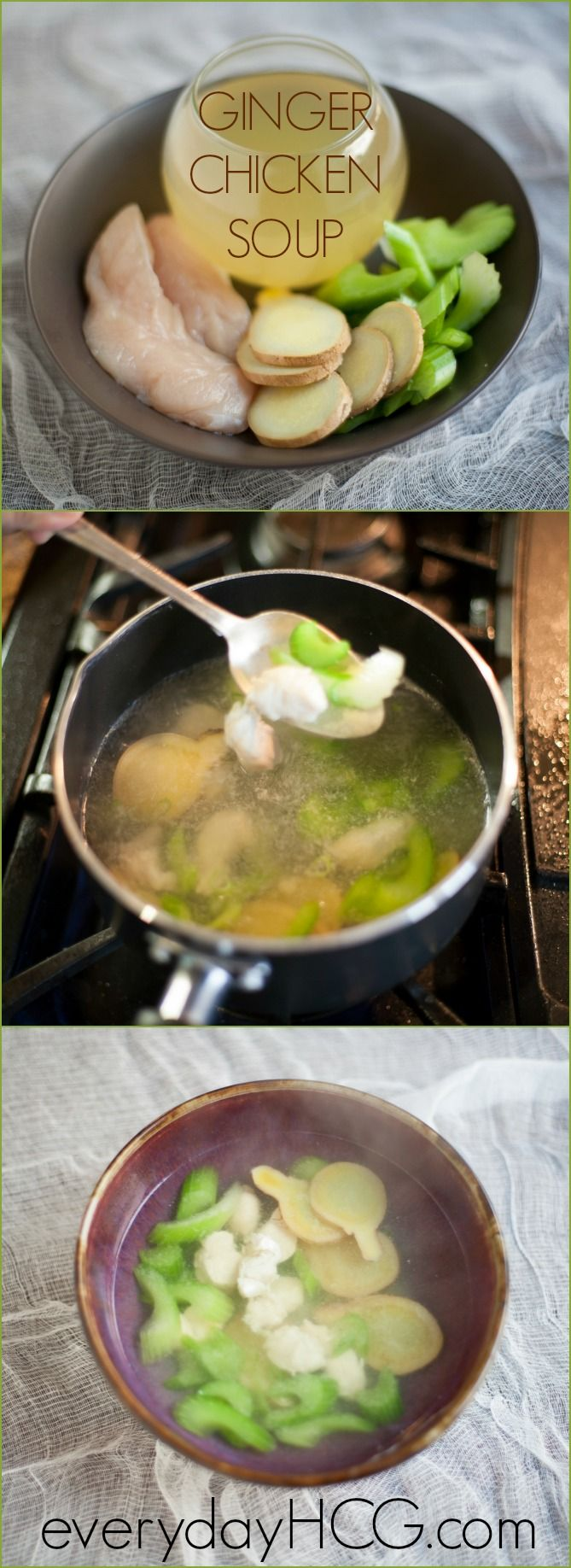 Warming Ginger Chicken Soup-perfect to fill up on phase 2