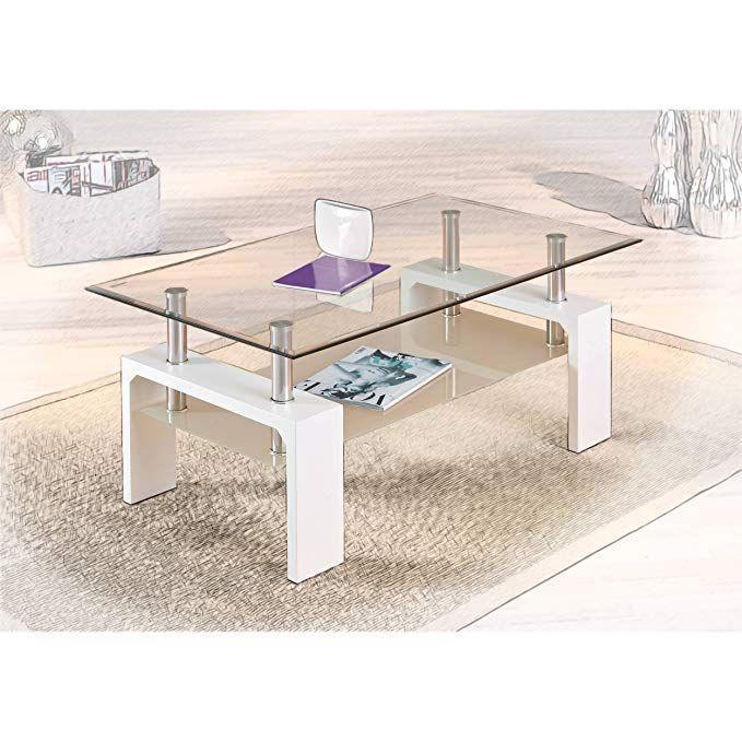 H24living Couchtisch I Massiv I Glastisch I Sofatisch I 2 Glasplatten I Stubentisch I Beistelltisch I Holz Tisch I Wohnzimmer Modern Wohnzimmertisch Sofa Tisch