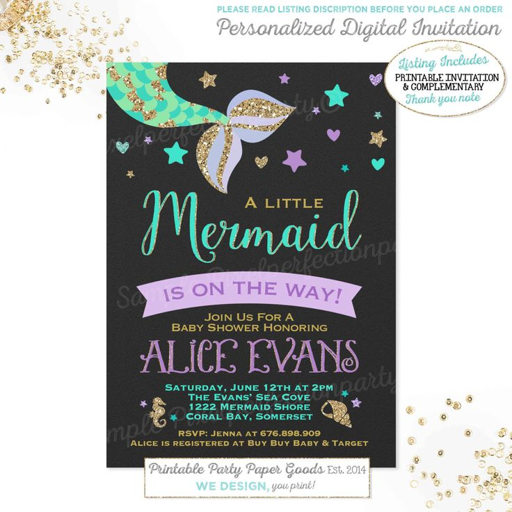 Mermaid Baby Shower Invitation Little Mermaid Baby Shower Invitation Mermaid Purple Gold Sparkle Baby Shower Under The Sea Baby Shower by PixelPerfectionParty on Etsy https://www.etsy.com/listing/290908641/mermaid-baby-shower-invitation-little
