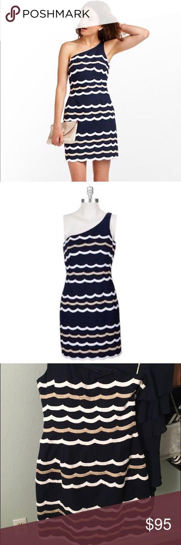 Lilly Pulitzer navy one strap dress Glitter stripe one strap dress Lilly Pulitzer Dresses One Shoulder