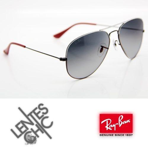 Rayban 3025 Red White Grey 070/32 Aviator Lentes De Sol - $300,00