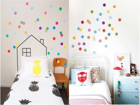 Paredes decoradas con confetti. Habitaciones infantiles