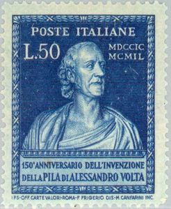 Bust of Volta, produced by G.B. Comolli ~~ Alessandro Giuseppe Antonio Anastasio Volta (Italian: [alesˈsandro ˈvɔlta]; 18 February 1745 – 5 March 1827) was an Italian physicist, chemist, and a pioneer of electricity and power,[2][3][4] who is credited as the inventor of the electrical battery and the discoverer of methane. He invented the Voltaic pile in 1799,
