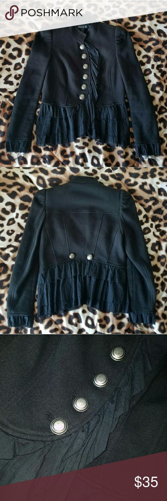 Ruffled Military Jacket Like new condition Size Small INC brand Light shoulder pads Looks just like Free People jackets, but for a lesser price! Urban Outfitters Jackets & Coats
