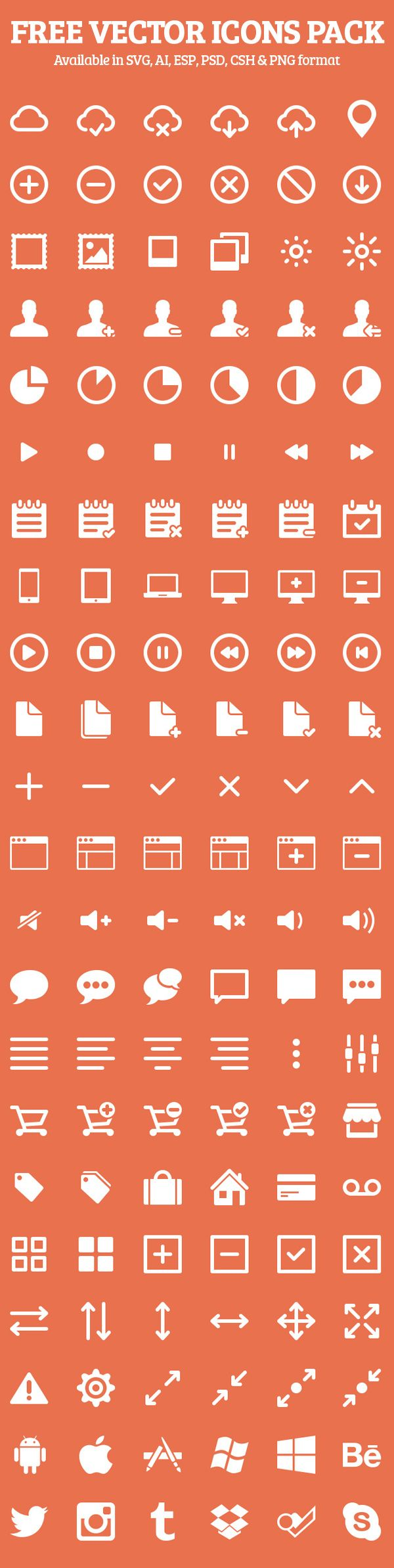 Free Vector Icons Pack Preview 1  #vectoricons #freeicons #psdicons