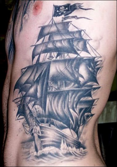 Nicely detailed pirate ship tattoo. Pirate Ship - Luke by ~JamesRM on