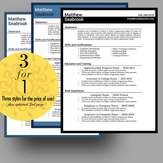 111 Best Resume Templates - Etsy Images On Pinterest | Cv Template