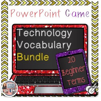 """Technology Vocabulary PowerPoint Game- List 1 and 2 Bundle. Perfect for your beginning readers or ELL students with visual graphics and text. I recommend using these as a """"word of the week"""" with your students and work on each word until the students master it. $"""