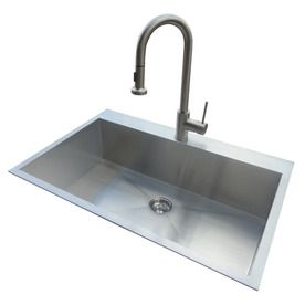 American Standard 20-Gauge Single Basin Drop-In or Undermount Stainless Steel Kitchen Sink with Faucet