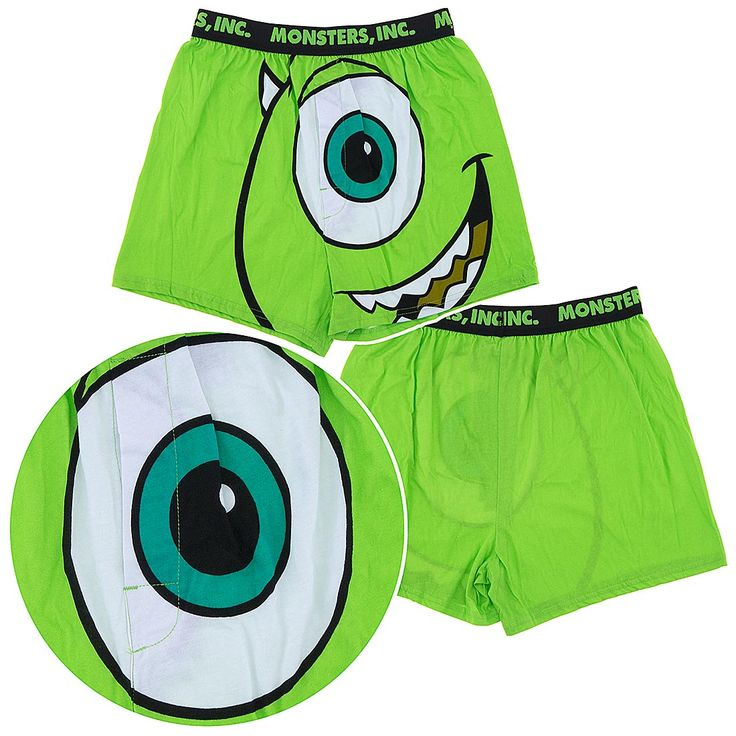 Monster's Inc boxers for men.  Check out these fun and fabulous green boxers featuring Mike from the hit movie Monster's Inc.  These mens boxers are a perfect gift for any fan of Monster's Inc.