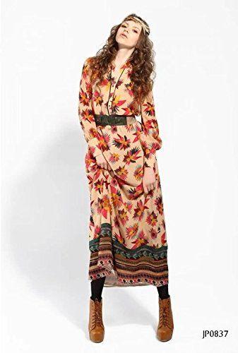 Amazon.co.jp: JP0837 ベルト付き 上質 森ガール ナチュラル エスニック ファッションスタイル 長袖 マキシ丈ワンピース 3714080507: 服&ファッション小物通販