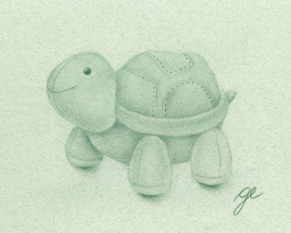 Plush Turtle Drawing Art Print  Nursery Drawing Print by MatanteGe