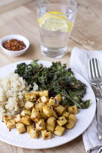 Lemon Herb Roasted Tofu and Kale With Quinoa by Zizi's Adventures