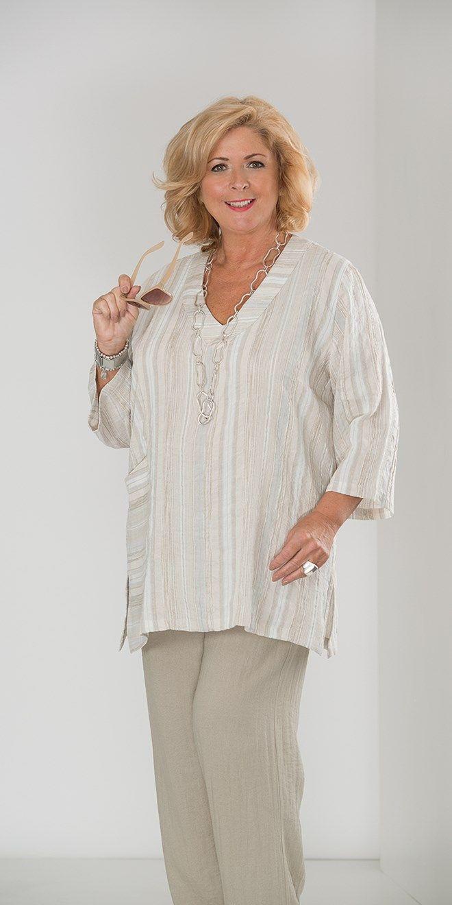 Kasbah silver/beige/cream linen stripe pocket top