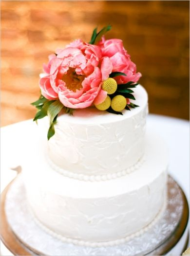 Simple white cake topped with flowers