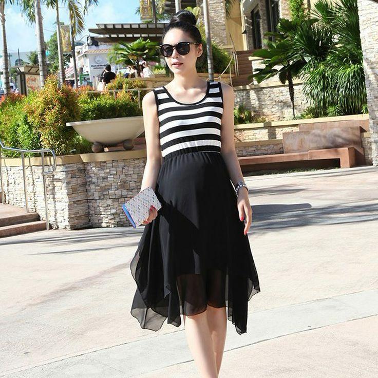 Материнство летом новый корейский моды шифона платье жилет юбка беременной затем бороться - Taobao