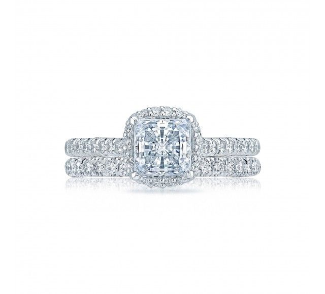 This+beautiful+double-bloom+princess+cut+diamond+ring+from+our+Petite+Crescent+collection+looks+positively+celestial.+With+strings+of+pave-set+diamonds+and+diamond+crescent+detailing,+this+ring+is+fit+to+be+the+perfect+emblem+of+your+everlasting+love.+