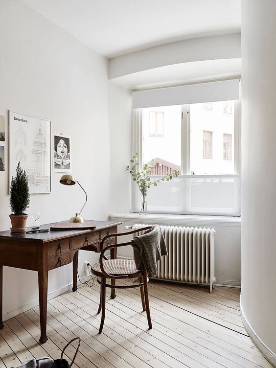 White Study, Antique Wooden Desk and Wishbone Chair | Workspace