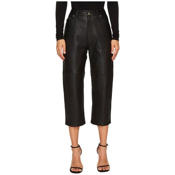 McQ Cropped '59 Leather Pants (Darkest Black) Women's Dress Pants ($855) ❤ liked on Polyvore featuring pants, capris, cropped capri pants, high waisted dress pants, zipper pants, slim fit dress pants and high-waisted trousers
