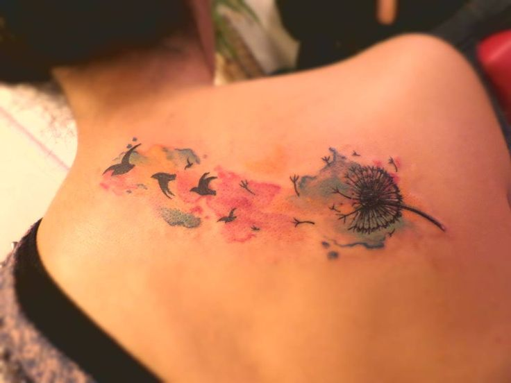 Tatuaje de diente de leon, dandelion tattoo, watercolor tattoo ink <3