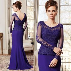 Free Shipping 2015 Purple Scoop Long Sleeve Mother Of The Bride Dresses Lace Wedding Guest Dress M2140