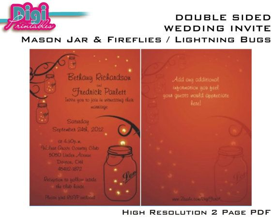 Making the first impression of your wedding DELIGHTFUL! So lovely is this Double Sided Mason Jar Firefly Wedding Invitation!    NOTE: matching
