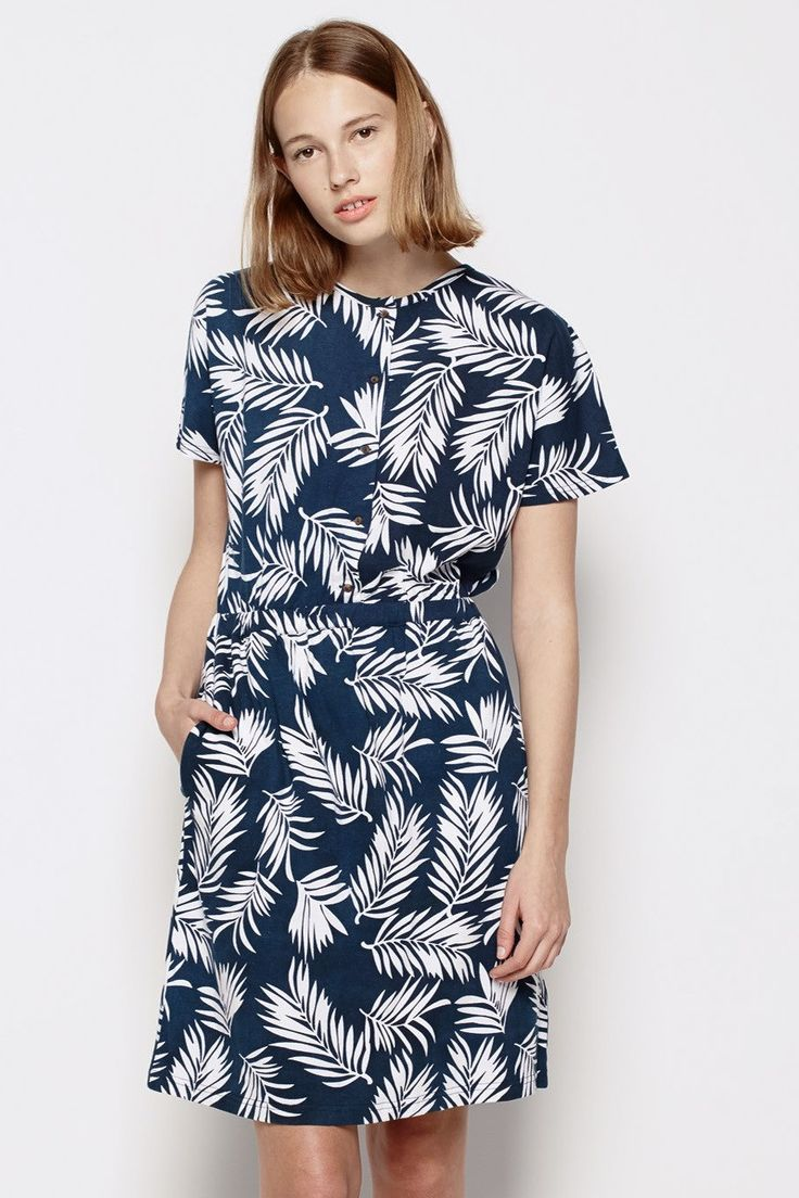 Vanishing Elephant - Collarless Shirt Dress Palm Print