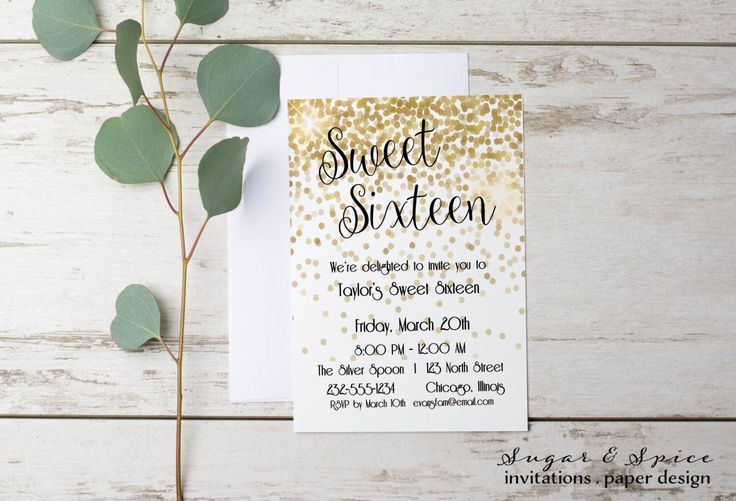 Sweet Sixteen Invitation, Sweet 16 Invitation, 16th birthday invitation, Birthday Invitations for Girl, Teen Birthday Invitation by SugarSpiceInvitation on Etsy https://www.etsy.com/listing/462219515/sweet-sixteen-invitation-sweet-16