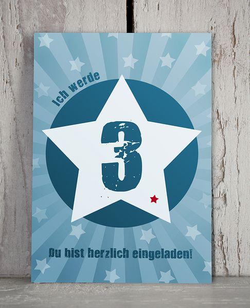 Einladung 3. GEBURTSTAG von KLEINE KERLE auf DaWanda.com