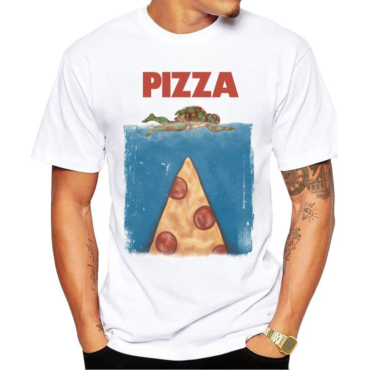 Vintage Pizza T-Shirt Short Sleeve Round Neck Tops Hipster Pizza